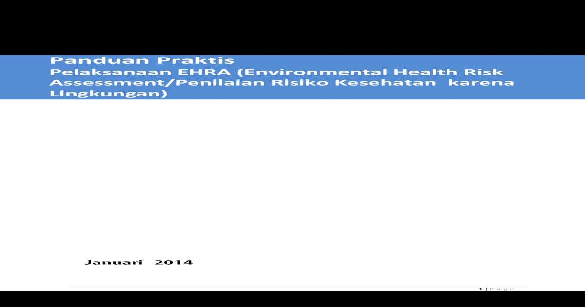Pedoman Studi EHRA (Environmental Health Risk Assessment ...