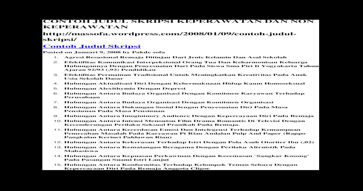 51870465 Contoh Judul Skripsi Keperawatan Dan Non Keperawatan Docx Document