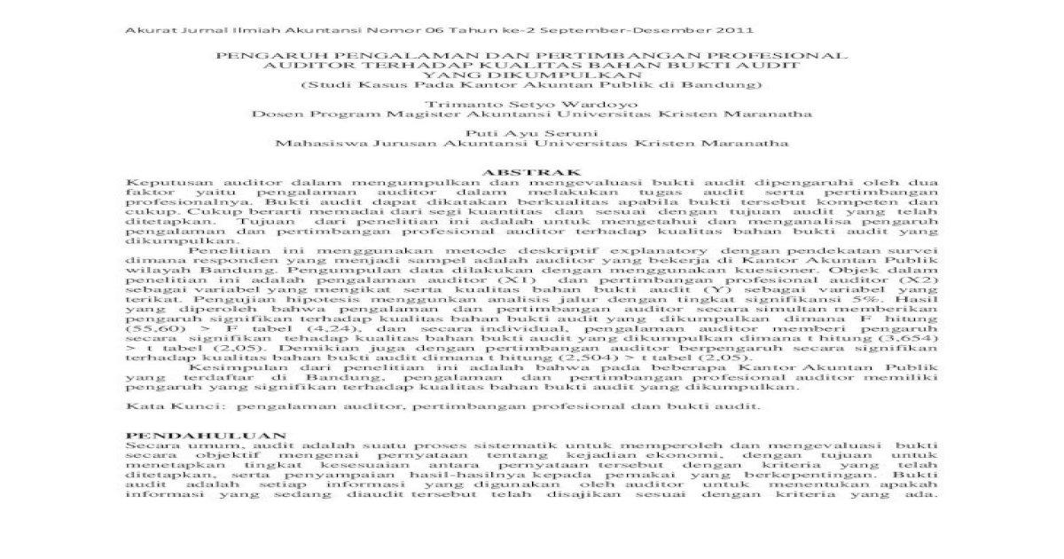 Pengaruh Pengalaman Dan Pertimbangan Profesional Yang Pengalaman Dan Kesesuaian Antara Informasi Pdf Document