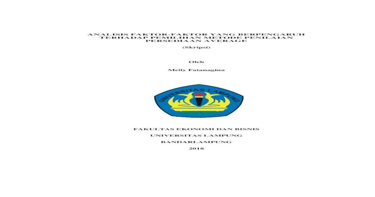 Analisis Faktor Faktor Yang Berpengaruh Tanpa Bab Dan Intensitas Persediaan Terhadap Pdf Document