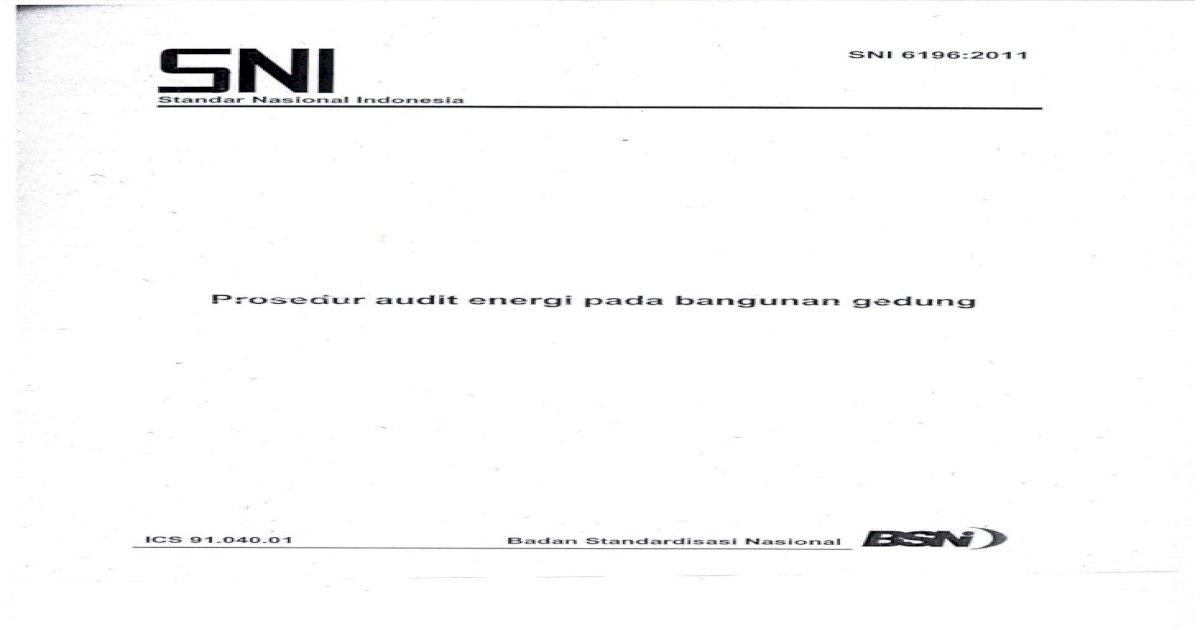 Sni 2011 Audit Energi Pada Bangunan Gedung Pdf Document